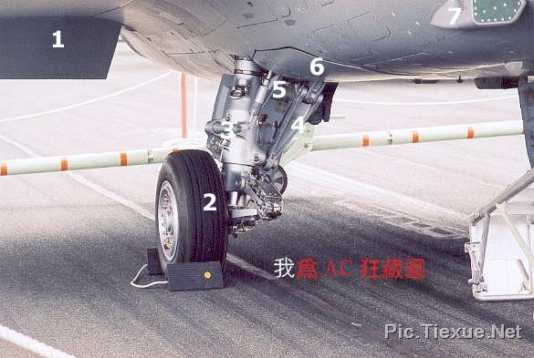 前起落架后段舱门8:前起落架支撑杆9:起落架液压机构