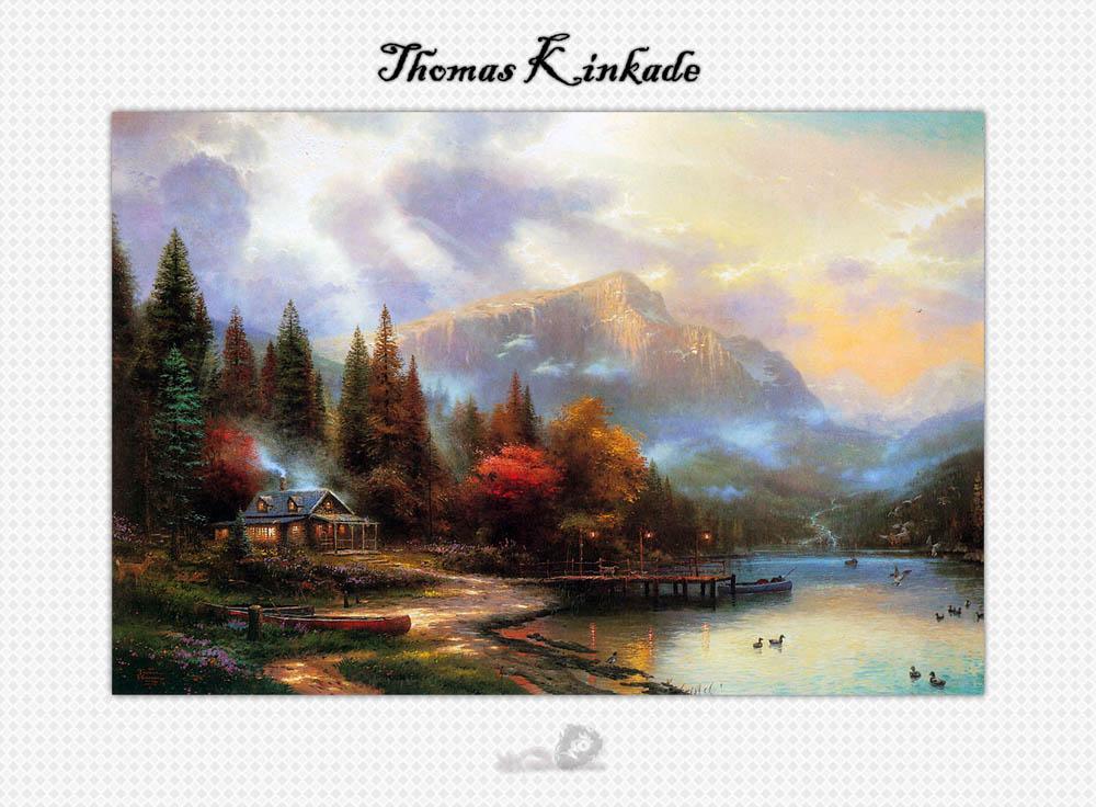 别墅装饰风景油画 客厅风景油画 大厅装饰画; thomas kinkade; 网前