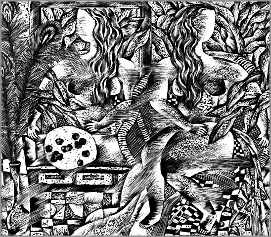黑白木刻--版画